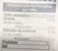 Jamón serrano curado reducido en sal - Información nutricional - es
