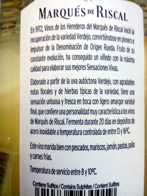 Rueda verdejo 2012 - Ingredientes
