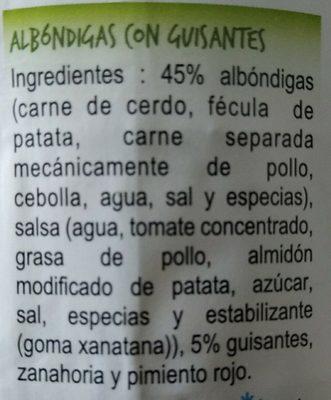 Albondigas con guisantes - Ingredients