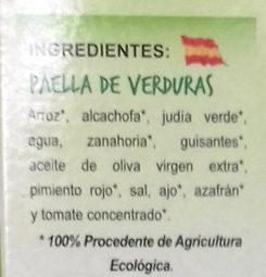 Paella de Verduras Bio - Ingrediënten - es