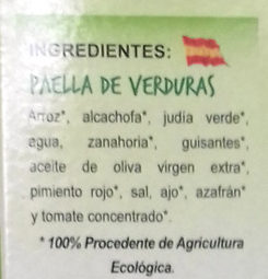 Paella de Verduras Bio - Ingrédients