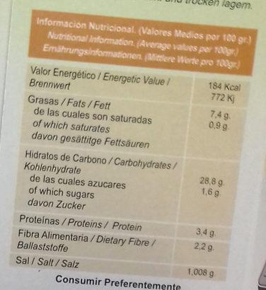 Paella de Verduras Bio - Voedingswaarden - es