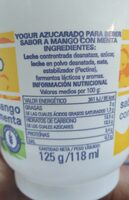 Yogur beber mango menta - Información nutricional - es