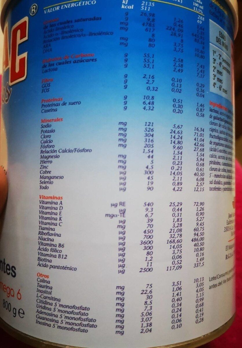 Millac 1 - Nutrition facts
