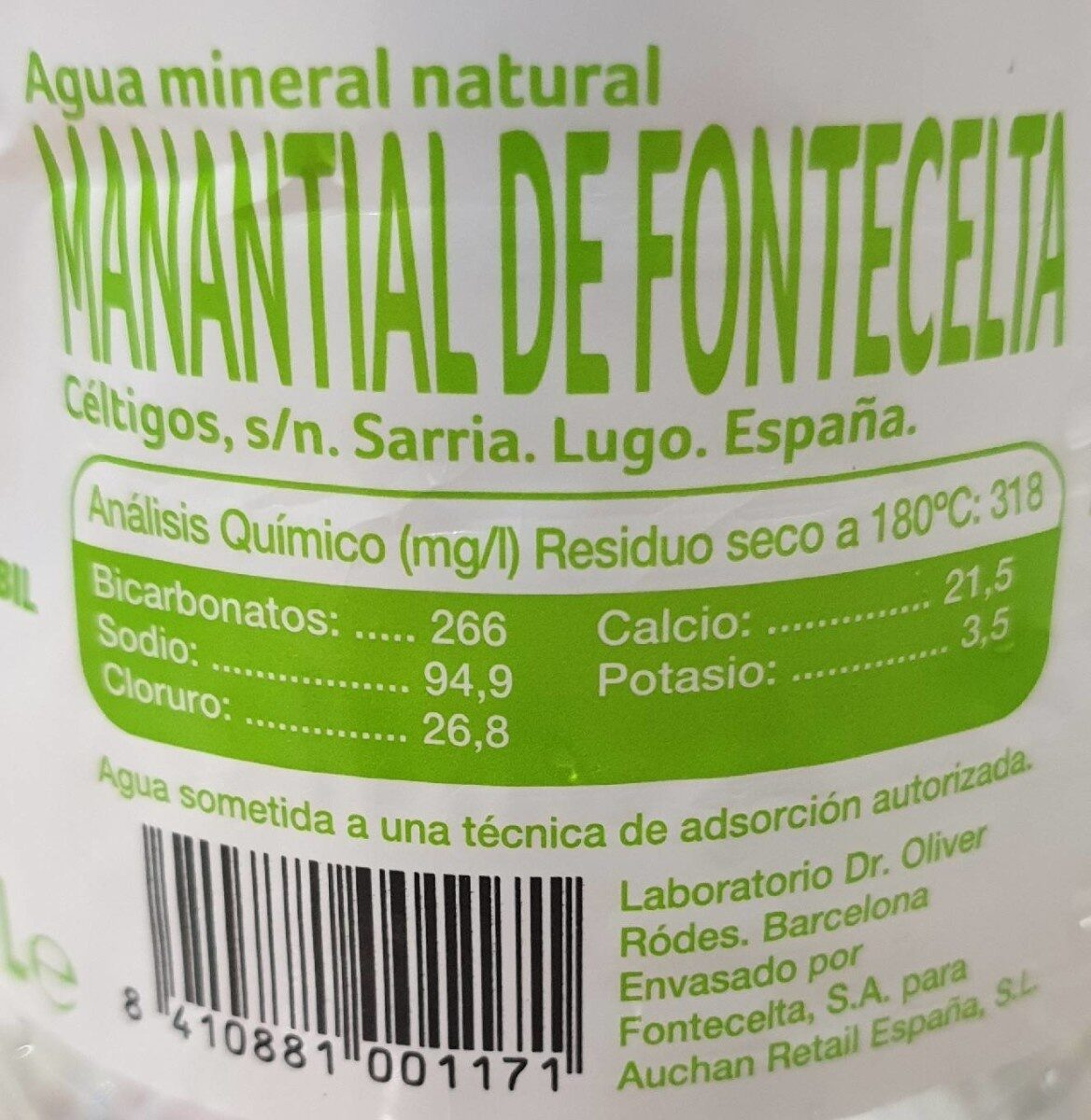 Agua mineral natural - Voedingswaarden - fr