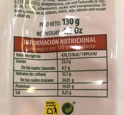 Cortadatos Naranja - Información nutricional