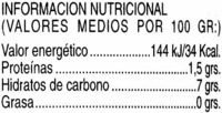 Corazones de alcachofa en conserva - Informació nutricional - es