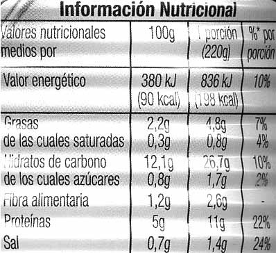 Garbanzos con verduras - Nutrition facts - es