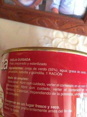 Oreja guisada - Ingrediënten