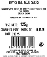 Bayas del goji secas - Ingredientes - es