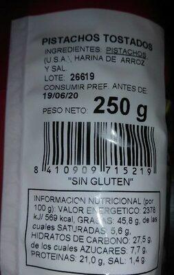 Pistachos tostados - Información nutricional
