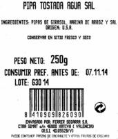 Semillas de girasol con cáscara tostadas aguasal - Ingredients - es