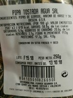 Semillas de girasol con cáscara tostadas aguasal - Informació nutricional - es