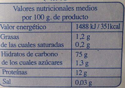 Harina de trigo - Informació nutricional