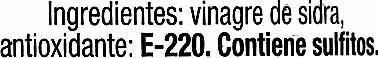 Vinagre de sidra - Ingrédients - es