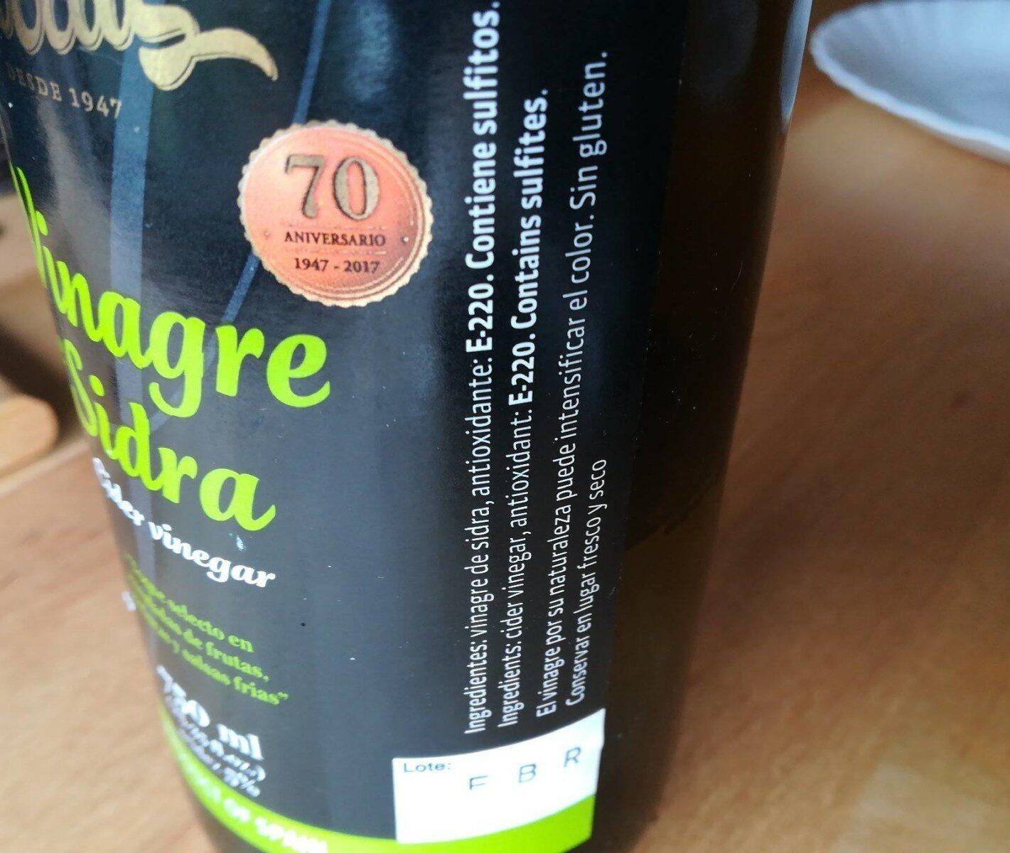 Vinagre de sidra - Informations nutritionnelles - es
