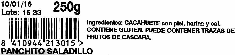 Panchito Tostado Saladillo - Ingrédients - es