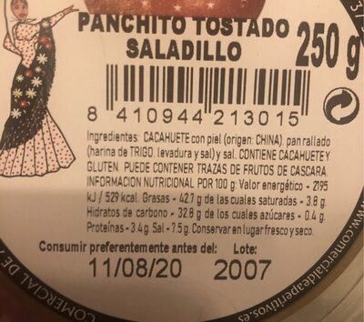 Panchito Tostado Saladillo - Informations nutritionnelles - es