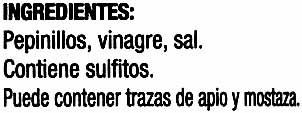 Pepinillos en vinagre frasco 180 g - Ingrédients