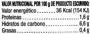 """Cebollitas encurtidas """"Rioverde"""" - Información nutricional"""