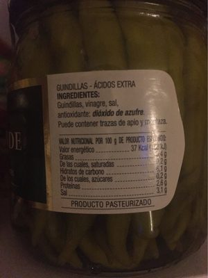Guindillas piparras no picantes frasco 120 g - Informations nutritionnelles - fr