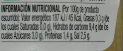Mazorquitas de maiz - Información nutricional