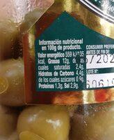 aceitunas verdes - Nutrition facts - es