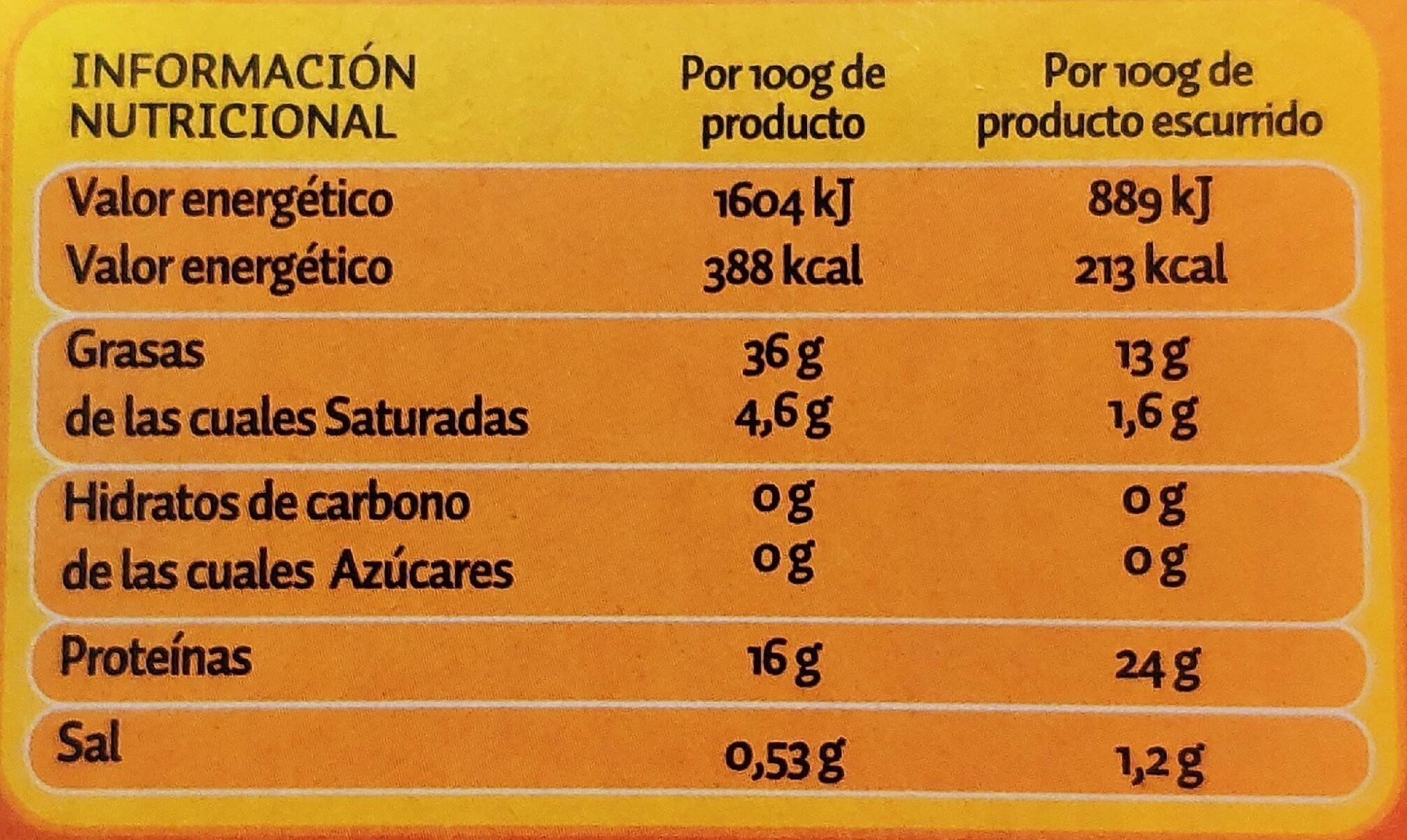 Atún en aceite de girasol - Información nutricional - es