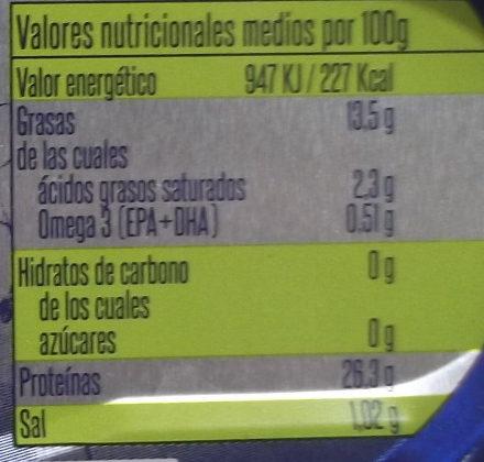 Bonito del norte en aceite de oliva - Información nutricional