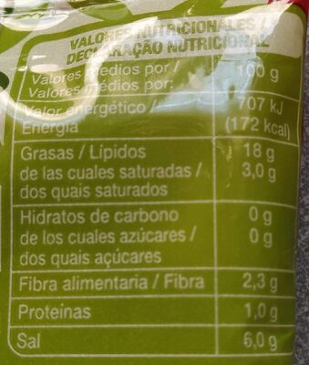 Aceitunas verdes sin hueso - Nutrition facts - es
