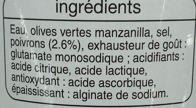Olives vertes Manzanilla farcies aux poivrons Auchan - Ingredients - fr