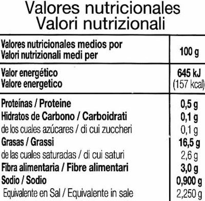 Olives avec noyau - Informations nutritionnelles