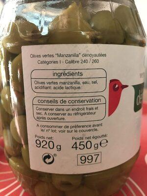 Aceitunas sin hueso - Ingredients - fr