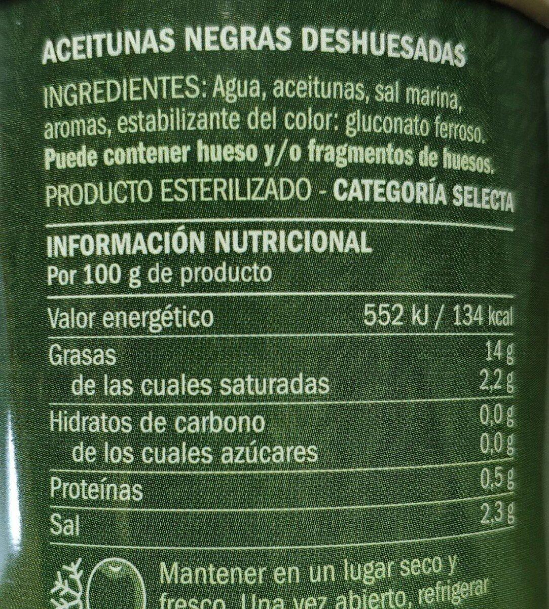 Aceitunas negras deshuesada - Ingrédients - es