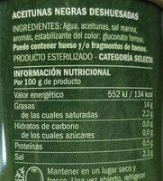Aceitunas negras deshuesada - Informations nutritionnelles - es