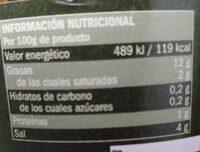 Aceituna partida aliñada - Informations nutritionnelles - es