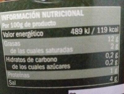 Aceituna partida aliñada - Informations nutritionnelles