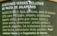 Aceitunas verdes rellenas de jalapeños - Ingrédients - es