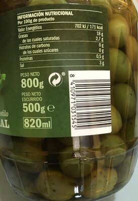 Aceitunas - Informations nutritionnelles