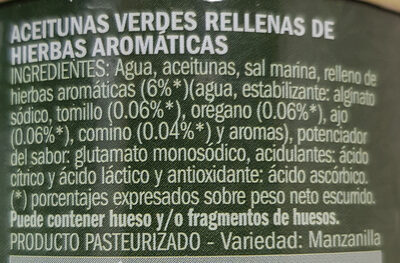 Aceitunas verdes rellenas de hierbas aromáticas - Ingredientes