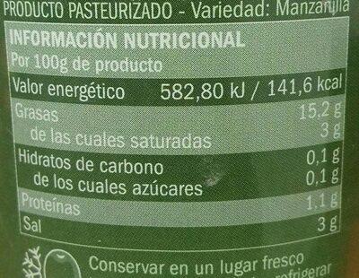 Aceitunas verdes rellenas de hierbas aromáticas - Información nutricional