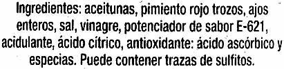 """Aceitunas verdes deshuesadas aliñadas """"Excelencia del Olivar"""" Variedad Gordal - Ingredients"""