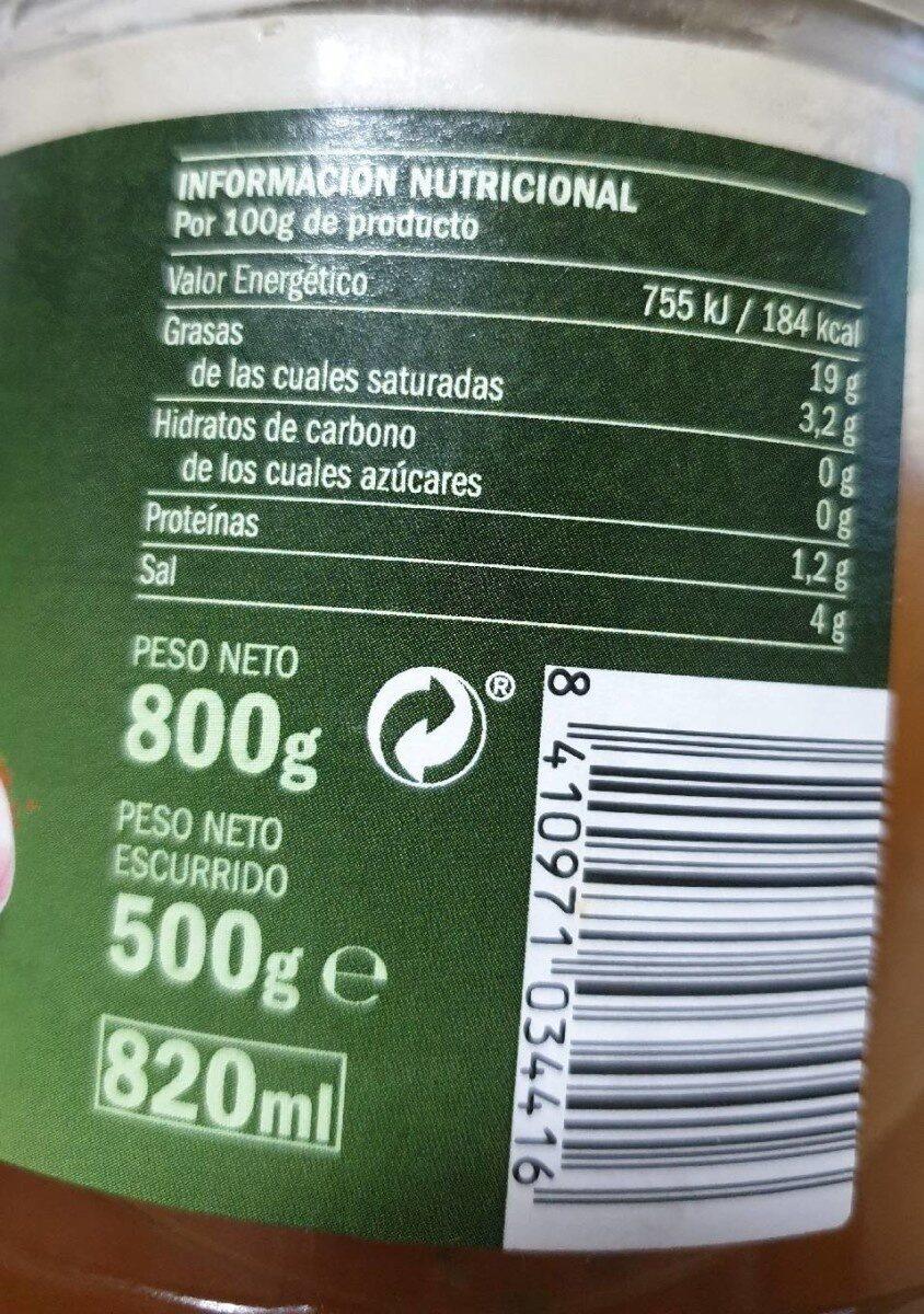 Aceitunas verdes partidas estilo campero - Informations nutritionnelles - es