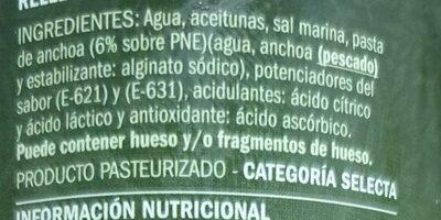Aceitunas manzanilla rellenas - Ingrédients - es
