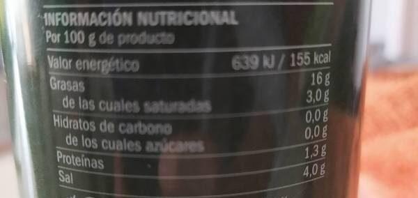 Aceitunas manzanilla rellenas - Informations nutritionnelles - es
