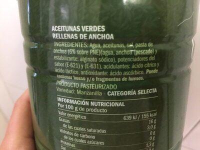 Aceitunas verdes manzanilla con anchoa Excelencia - Ingredients - es
