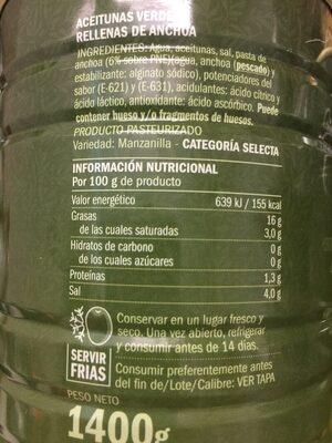 Aceitunas verdes manzanilla con anchoa Excelencia - Nutrition facts - es