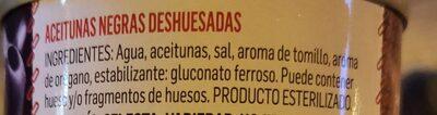 Aceitunas NEGRAS Deshuesadas - Nutrition facts - es