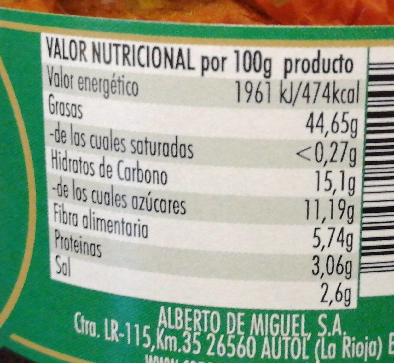 Tomate seco en aceite y especias - Información nutricional - es