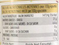 thon a l'huile d'olive au citron au thym - Informations nutritionnelles - fr